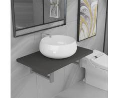 vidaXL Meuble de salle de bain en deux pièces Céramique Gris