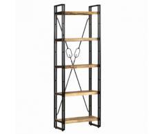 vidaXL Bibliothèque 5 niveaux Bois de manguier et acier 60x30x180 cm