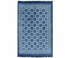 vidaXL Tapis Kilim Coton 120 x 180 cm avec motif Bleu