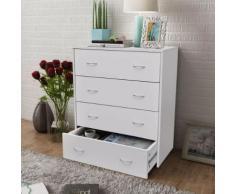vidaXL Buffet avec 4 tiroirs 60 x 30,5 x 71 cm Blanc