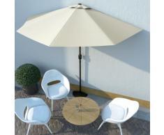 vidaXL Parasol de balcon avec mât en aluminium Sable 300x150 cm Demi