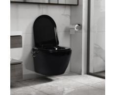 vidaXL Toilette murale sans bord à fonction de bidet Céramique Noir