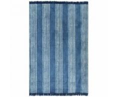 vidaXL Tapis Kilim Coton 160 x 230 cm avec motif Bleu