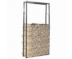vidaXL Portant de bois de chauffage Noir 100x25x200 cm Acier