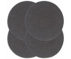 vidaXL Napperons 4 pcs Gris foncé Plain 38 cm Rond Coton
