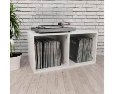 vidaXL Boîte de rangement de vinyles Blanc brillant 71x34x36 cm