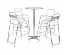 vidaXL Ensemble de bar 5 pcs avec table ronde Argenté Aluminium