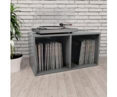 vidaXL Boîte de rangement de vinyles Gris brillant 71x34x36 cm