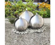 vidaXL 3 pcs Sphères de fontaine de jardin avec LED Acier inoxydable