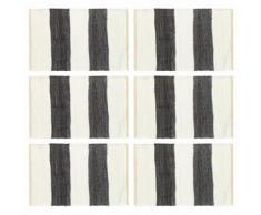 vidaXL Napperons 6 pcs Chindi Bande Anthracite et blanc 30 x 45 cm