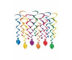 12 Suspensions en spirales ballons multicolores 43 - 86 cm