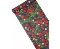 Chemin de table en tissu Houx de Noël 30 cm x 5 m