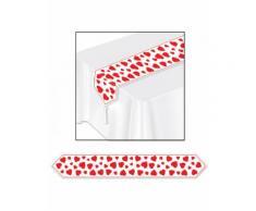Chemin de table blanc cœurs rouges 28 cm x 1,82 m