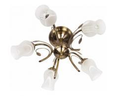 Lustre en metal marron antique et verre 5 ampoules - FLORA