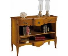 Petite bibliothèque ouverte galbée 1 étagère 3 tiroirs