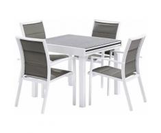Salon de jardin Modulo L90 Stone 4 fauteuils blanc