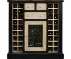 Meuble bar cave à vins chêne noir crème 36 cases 1 porte 3 tiroirs