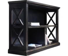 Bibliothèque basse ouverte chêne noir 3 cases décors croisillons
