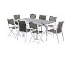 Salon de jardin Modulo 8 L90 Stone 4 fauteuils 4 chaises blanc