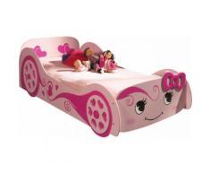 Lit enfant voiture rose 90x200