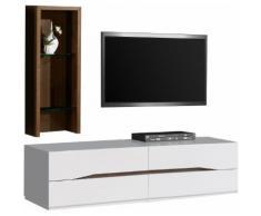 Composition design meuble TV étagère noyer