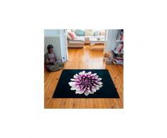 Tapis carré velours antidérapant imprimé floraux chrys - 135 x 135 cm