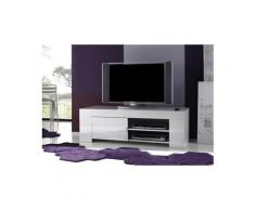 Meuble tv hifi blanc laqué design eleonore - l 140 cm