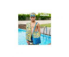 Coffret d'accessoires pour piscine à la décoration minions - bonnet, lunettes, serviette