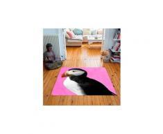 Tapis carré velours antidérapant imprimé animaux puffy - 135 x 135 cm