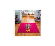 Tapis carré velours antidérapant imprimé fruits mr. Pineapple - 135 x 135 cm