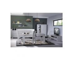 Salle à manger complète couleur chêne gris contemporaine sandra avec éclairage