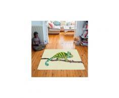 Tapis carré velours antidérapant imprimé animaux cameleon - 135 x 135 cm