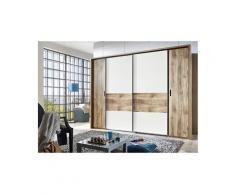 Armoire de 2 portes tournantes et 2 portes glissantes avec miroirs et corniche, chêne poutre/ blanc -pegane-