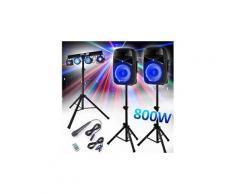 """Set enceintes 12"""" 800w + pieds - bt/usb + micro + tél. Vonyx vps122a + portique euphoria"""