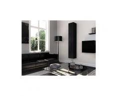 Homemania meuble de rangement multi-usages graz - avec porte, étagères - pour séjour, cuisine, entrée - noir en bois, 30 x 30 x 180 cm