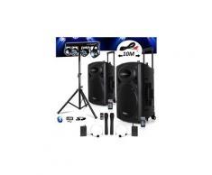Système actif batterie 1400w port12 vhf sono musiciens dj usb bluetooth mobile + x-performer portique +4 par /uv/friztal dmx