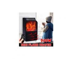 900 w mini ventilateur de chauffage à flamme électrique télécommande cheminée minuterie espace pour la maison / bureau / voyage noir