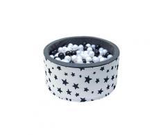 Welox piscine 200 balles ø 90 cm pour bébé blanc à étoiles