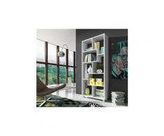 Etagère murale de rangement pour livres, bibliothèque, 8 compartiments, montage horizontal et vertical. Blanc mate, , 68,5x161x25cm de profondeur.