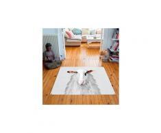 Tapis carré velours antidérapant imprimé animaux mr felix - 135 x 135 cm