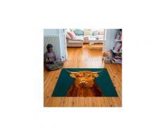 Tapis carré velours antidérapant imprimé animaux highlander - 135 x 135 cm