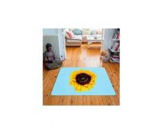 Tapis carré velours antidérapant imprimé animaux sun flower - 135 x 135 cm