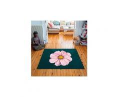 Tapis carré velours antidérapant imprimé floraux rock rose - 135 x 135 cm