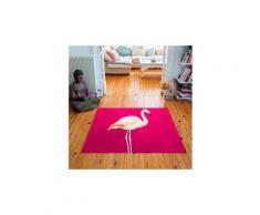 Tapis carré velours antidérapant imprimé animaux pink flamingo - 135 x 135 cm