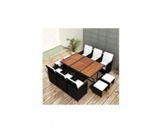 Icaverne - salons de jardin sublime salon de jardin encastrable 11 pcs rotin et bois d'acacia noir