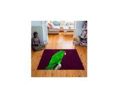 Tapis carré velours antidérapant imprimé animaux green parrot - 135 x 135 cm