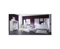 Salle à manger complète blanc laqué design esmeralda avec éclairage