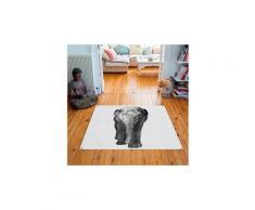 Tapis carré velours antidérapant imprimé animaux elephant - 135 x 135 cm
