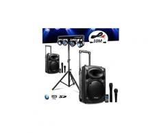 Système amplifié sur batterie 1000w port10 vhf sono musiciens dj usb bluetooth mobile 4 micros + portique +4 par /uv/friztal dmx