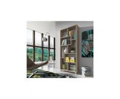 Etagère murale de rangement pour livres,bibliothèque, 8 compartiments,montage horizontal et vertical. Chêne clair brossé, 68,5x161x25cm de profondeur.